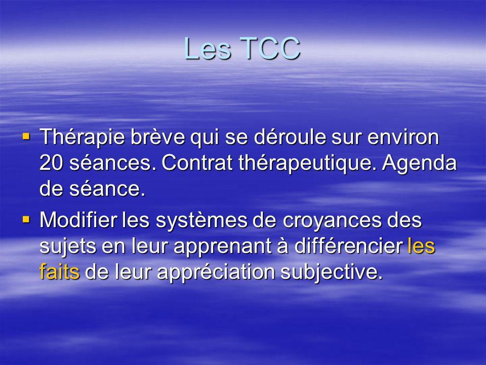 Les TCC Thérapie brève qui se déroule sur environ 20 séances. Contrat thérapeutique. Agenda de séance. Thérapie brève qui se déroule sur environ 20 sé