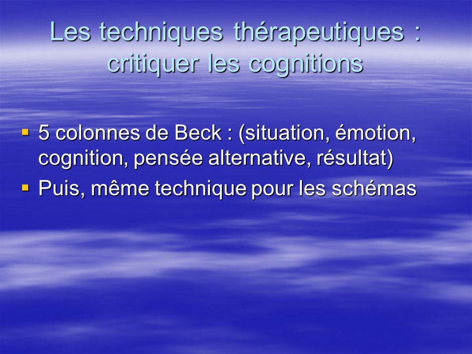 Les techniques thérapeutiques : critiquer les cognitions 5 colonnes de Beck : (situation, émotion, cognition, pensée alternative, résultat) 5 colonnes