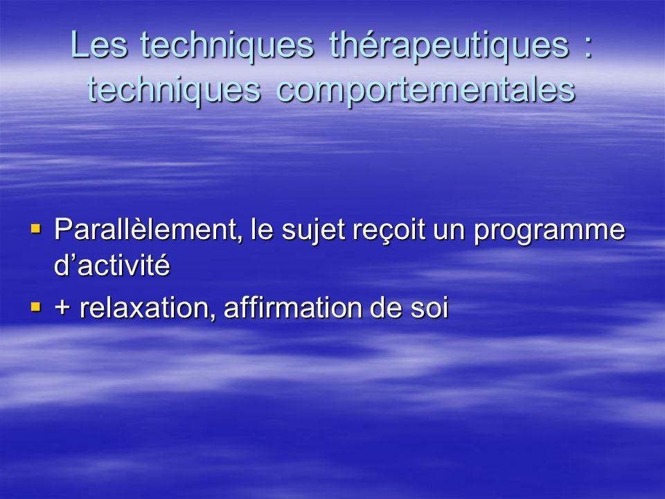 Les techniques thérapeutiques : techniques comportementales Parallèlement, le sujet reçoit un programme dactivité Parallèlement, le sujet reçoit un pr