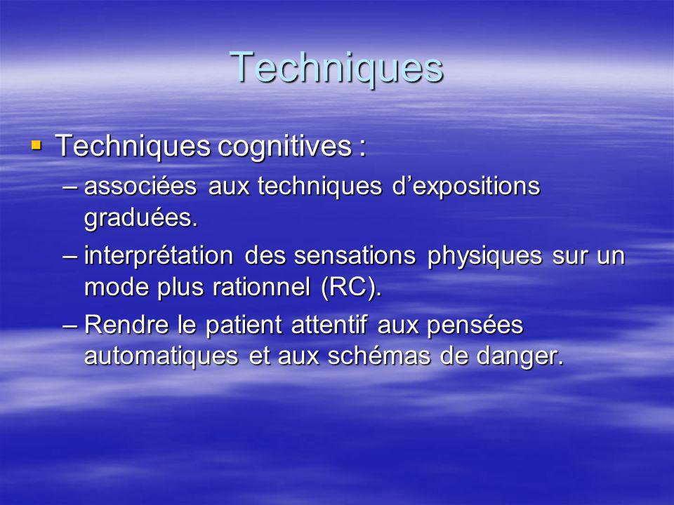 Techniques Techniques cognitives : Techniques cognitives : –associées aux techniques dexpositions graduées. –interprétation des sensations physiques s