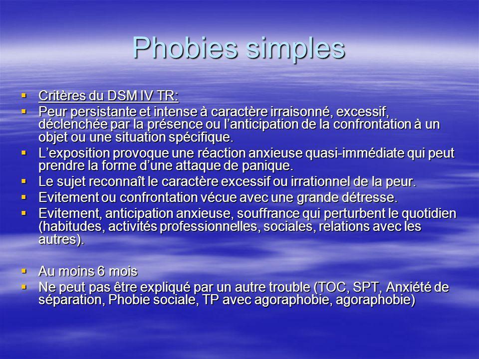 Phobies simples Critères du DSM IV TR: Critères du DSM IV TR: Peur persistante et intense à caractère irraisonné, excessif, déclenchée par la présence