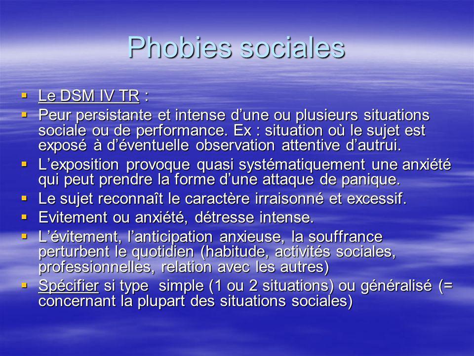 Phobies sociales Le DSM IV TR : Le DSM IV TR : Peur persistante et intense dune ou plusieurs situations sociale ou de performance. Ex : situation où l