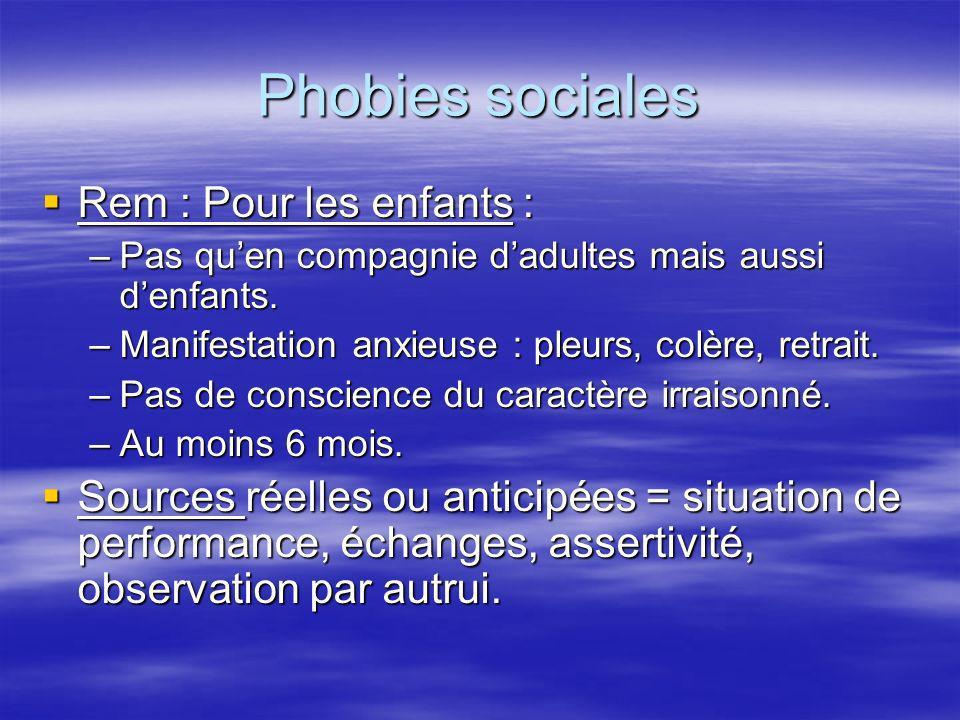 Phobies sociales Rem : Pour les enfants : Rem : Pour les enfants : –Pas quen compagnie dadultes mais aussi denfants. –Manifestation anxieuse : pleurs,
