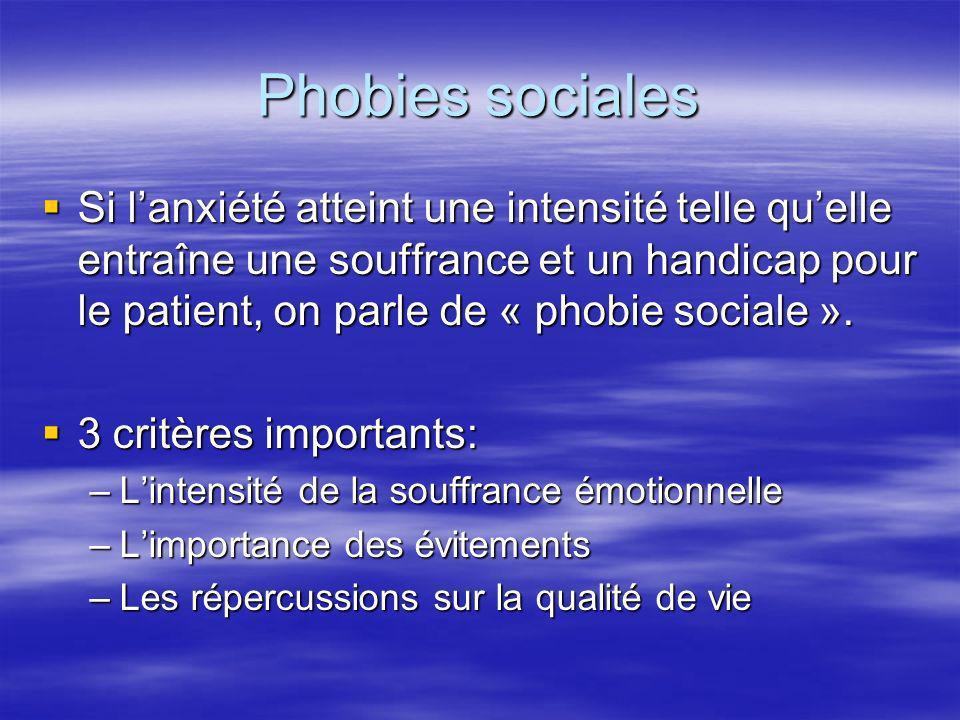 Phobies sociales Si lanxiété atteint une intensité telle quelle entraîne une souffrance et un handicap pour le patient, on parle de « phobie sociale »