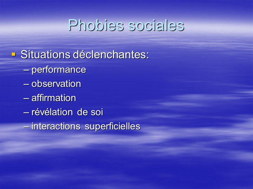 Phobies sociales Situations déclenchantes: Situations déclenchantes: –performance –observation –affirmation –révélation de soi –interactions superfici