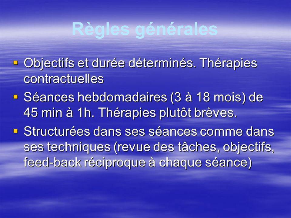 Règles générales Thérapeute : rôle actif et directif Thérapeute : rôle actif et directif Patient : rôle participatif et collaboratif.