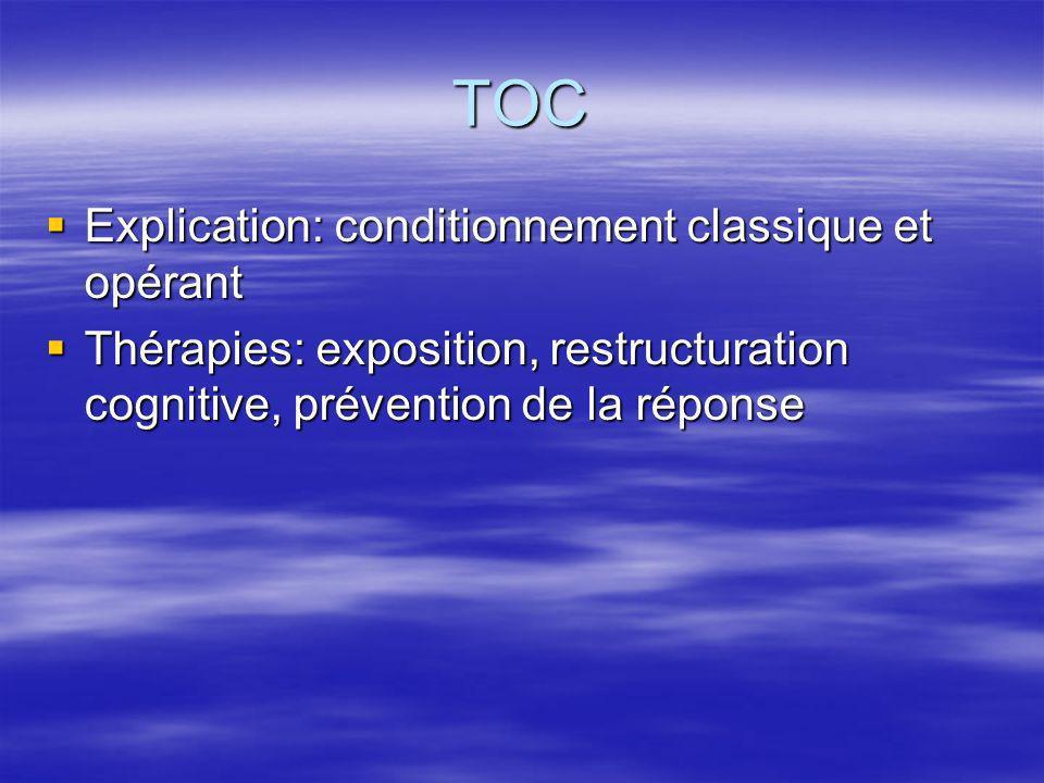 TOC Explication: conditionnement classique et opérant Explication: conditionnement classique et opérant Thérapies: exposition, restructuration cogniti