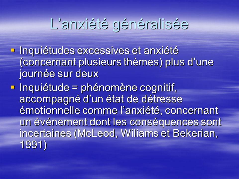 Lanxiété généralisée Inquiétudes excessives et anxiété (concernant plusieurs thèmes) plus dune journée sur deux Inquiétudes excessives et anxiété (con