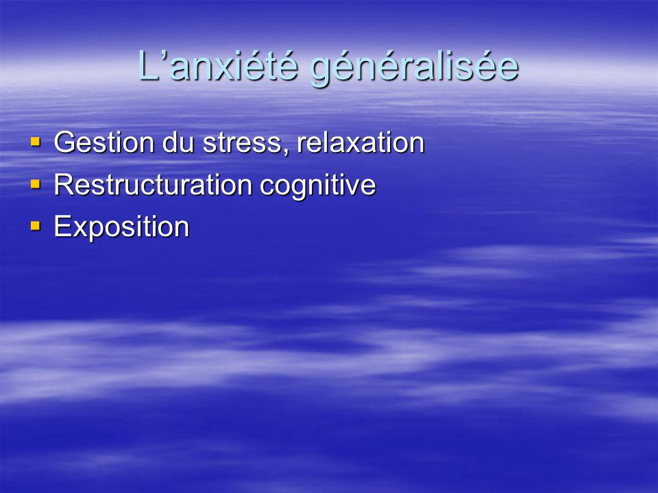 Lanxiété généralisée Gestion du stress, relaxation Gestion du stress, relaxation Restructuration cognitive Restructuration cognitive Exposition Exposi