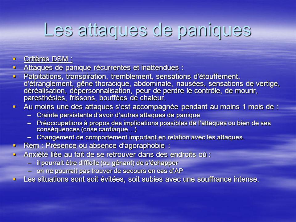 Les attaques de paniques Critères DSM : Critères DSM : Attaques de panique récurrentes et inattendues : Attaques de panique récurrentes et inattendues