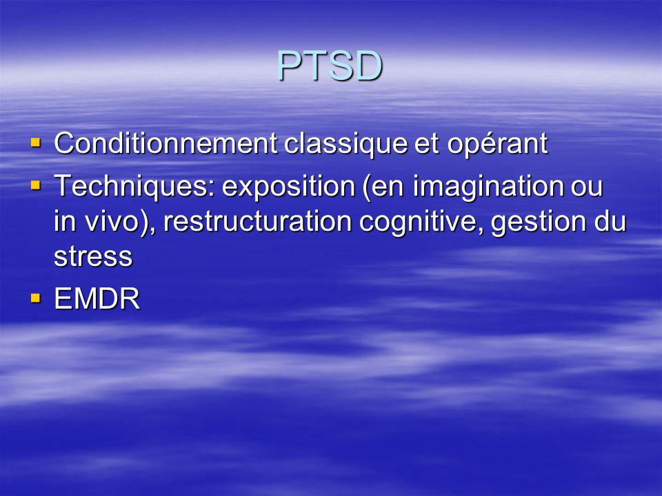 PTSD Conditionnement classique et opérant Conditionnement classique et opérant Techniques: exposition (en imagination ou in vivo), restructuration cog