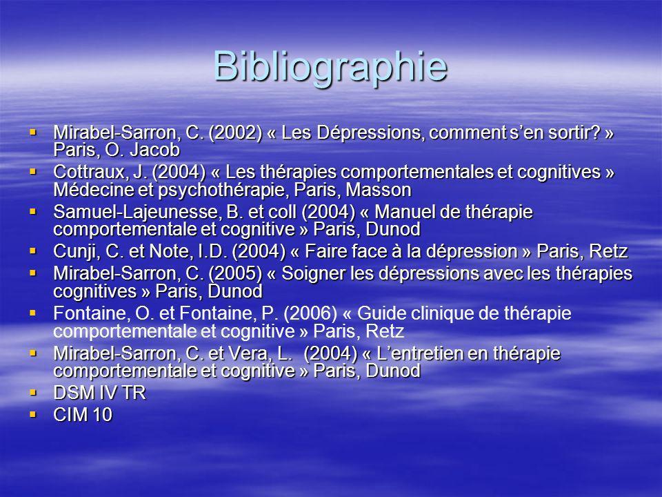 Bibliographie Mirabel-Sarron, C. (2002) « Les Dépressions, comment sen sortir? » Paris, O. Jacob Mirabel-Sarron, C. (2002) « Les Dépressions, comment