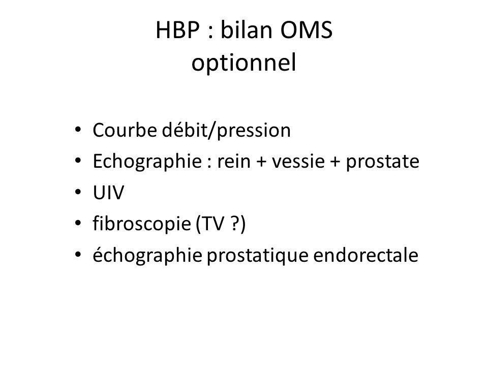 HBP : bilan OMS optionnel Courbe débit/pression Echographie : rein + vessie + prostate UIV fibroscopie (TV ?) échographie prostatique endorectale