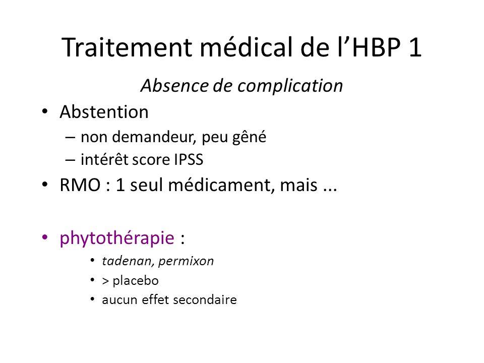 Traitement médical de lHBP 1 Absence de complication Abstention – non demandeur, peu gêné – intérêt score IPSS RMO : 1 seul médicament, mais... phytot