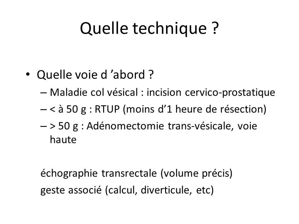 Quelle technique ? Quelle voie d abord ? – Maladie col vésical : incision cervico-prostatique – < à 50 g : RTUP (moins d1 heure de résection) – > 50 g