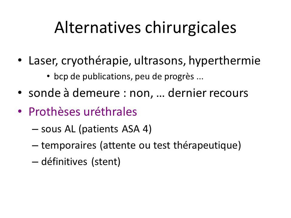 Alternatives chirurgicales Laser, cryothérapie, ultrasons, hyperthermie bcp de publications, peu de progrès... sonde à demeure : non, … dernier recour