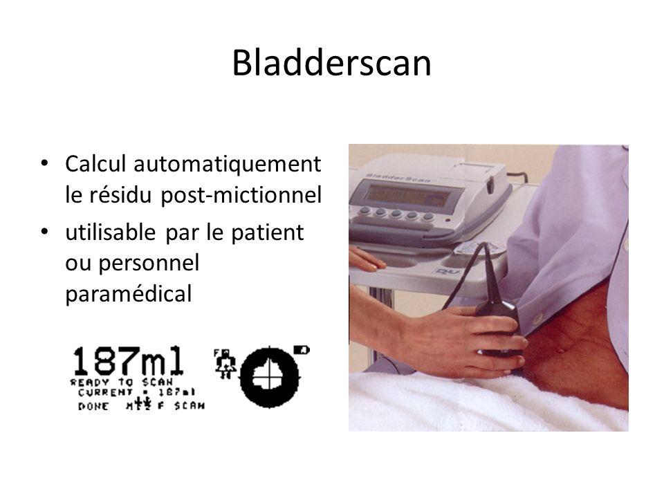 Bladderscan Calcul automatiquement le résidu post-mictionnel utilisable par le patient ou personnel paramédical