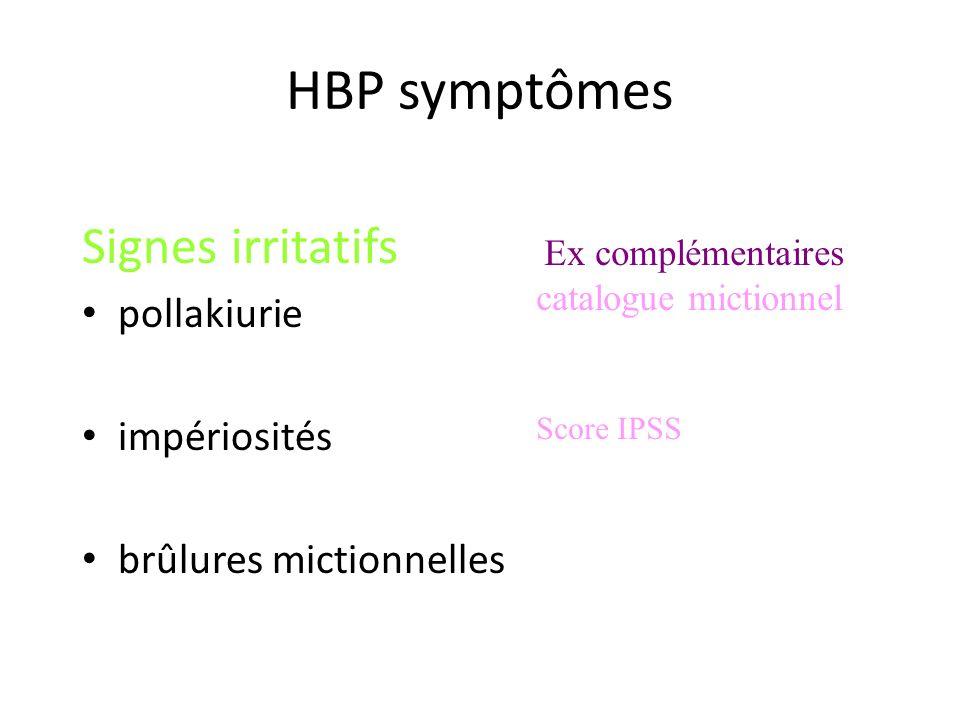 HBP symptômes Signes irritatifs pollakiurie impériosités brûlures mictionnelles Ex complémentaires catalogue mictionnel Score IPSS