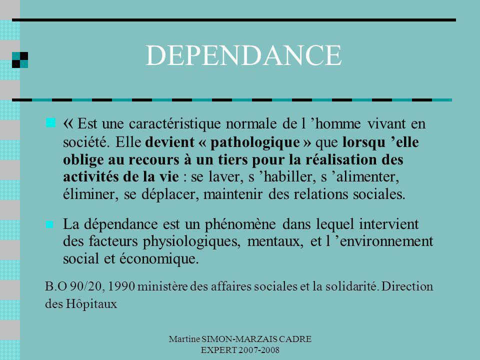 Martine SIMON-MARZAIS CADRE EXPERT 2007-2008 DEPENDANCE « Est une caractéristique normale de l homme vivant en société. Elle devient « pathologique »