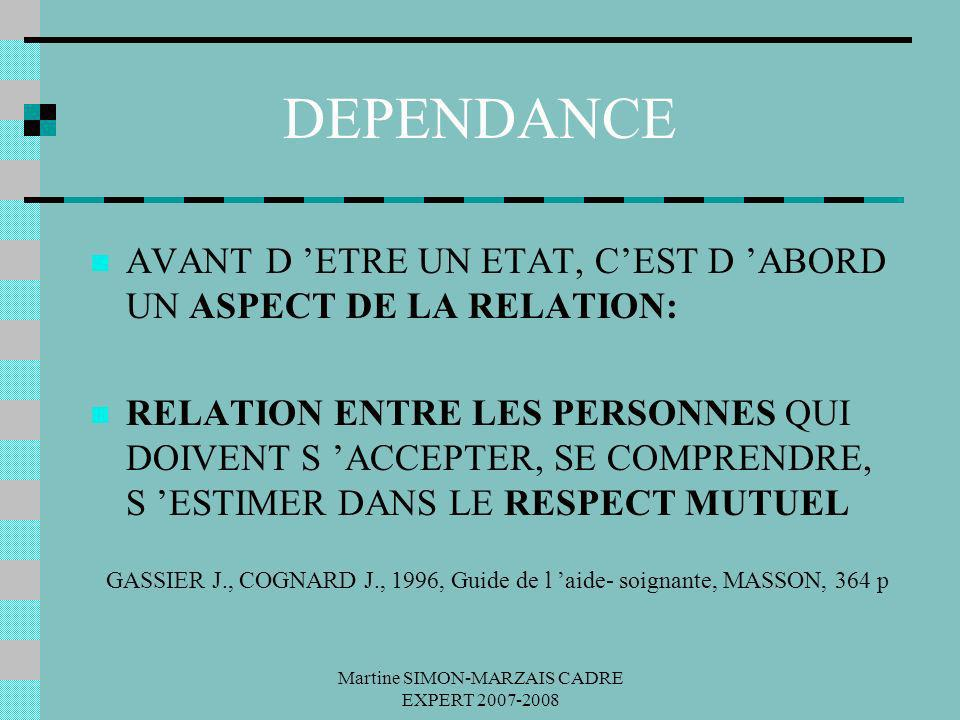 Martine SIMON-MARZAIS CADRE EXPERT 2007-2008 DEPENDANCE AVANT D ETRE UN ETAT, CEST D ABORD UN ASPECT DE LA RELATION: RELATION ENTRE LES PERSONNES QUI