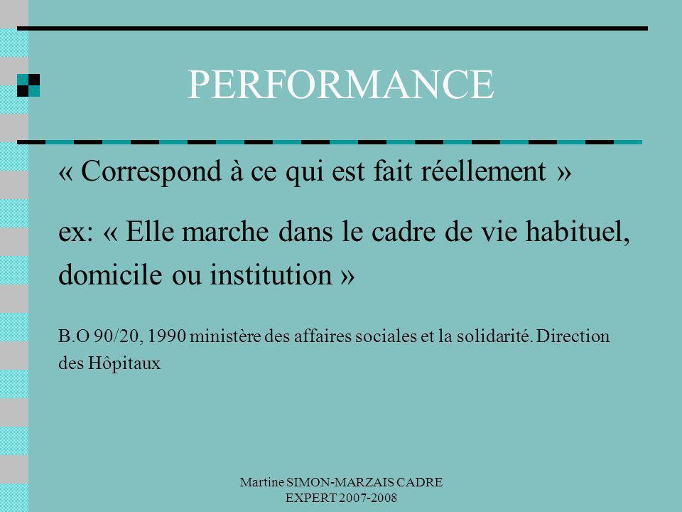 Martine SIMON-MARZAIS CADRE EXPERT 2007-2008 PERFORMANCE « Correspond à ce qui est fait réellement » ex: « Elle marche dans le cadre de vie habituel,