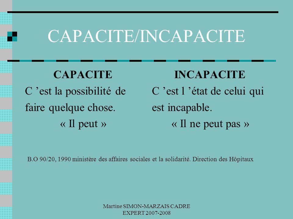 Martine SIMON-MARZAIS CADRE EXPERT 2007-2008 CAPACITE/INCAPACITE CAPACITE C est la possibilité de faire quelque chose. « Il peut » INCAPACITE C est l