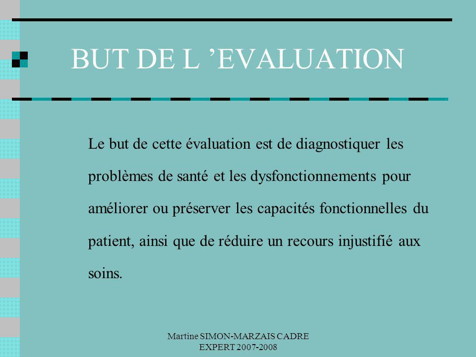 Martine SIMON-MARZAIS CADRE EXPERT 2007-2008 BUT DE L EVALUATION Le but de cette évaluation est de diagnostiquer les problèmes de santé et les dysfonc