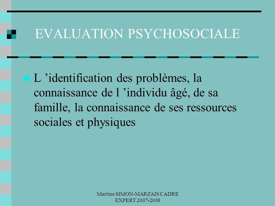 Martine SIMON-MARZAIS CADRE EXPERT 2007-2008 EVALUATION PSYCHOSOCIALE L identification des problèmes, la connaissance de l individu âgé, de sa famille