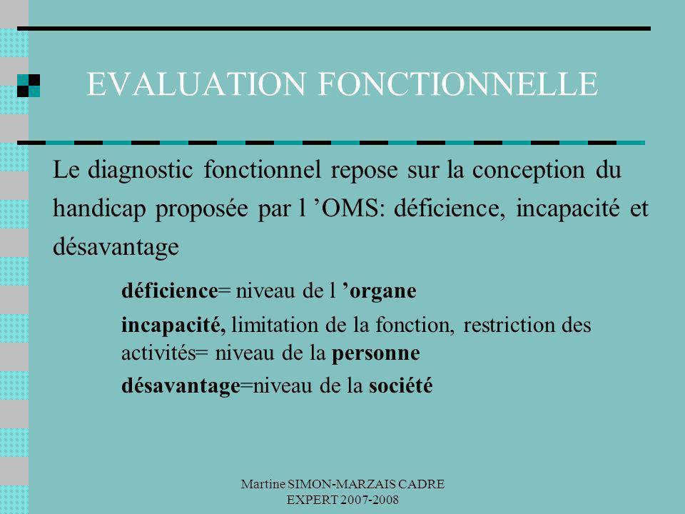 Martine SIMON-MARZAIS CADRE EXPERT 2007-2008 EVALUATION FONCTIONNELLE Le diagnostic fonctionnel repose sur la conception du handicap proposée par l OM