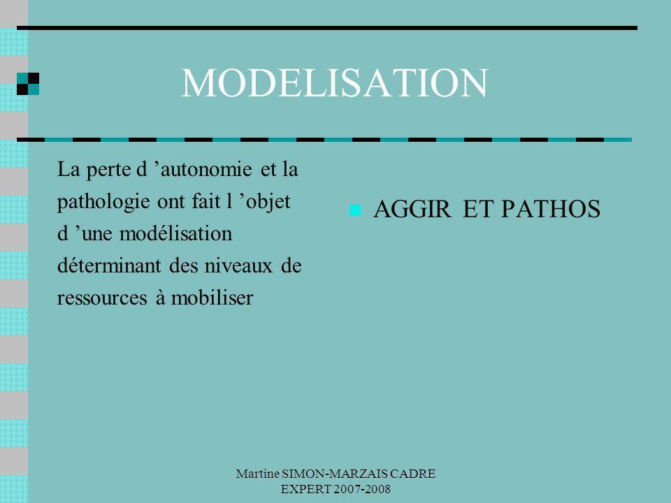 Martine SIMON-MARZAIS CADRE EXPERT 2007-2008 MODELISATION La perte d autonomie et la pathologie ont fait l objet d une modélisation déterminant des ni