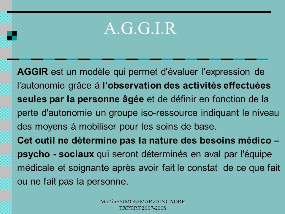 Martine SIMON-MARZAIS CADRE EXPERT 2007-2008 A.G.G.I.R AGGIR est un modèle qui permet d'évaluer l'expression de l'autonomie grâce à l'observation des