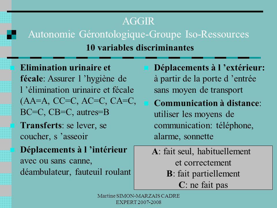 Martine SIMON-MARZAIS CADRE EXPERT 2007-2008 AGGIR Autonomie Gérontologique-Groupe Iso-Ressources 10 variables discriminantes Elimination urinaire et