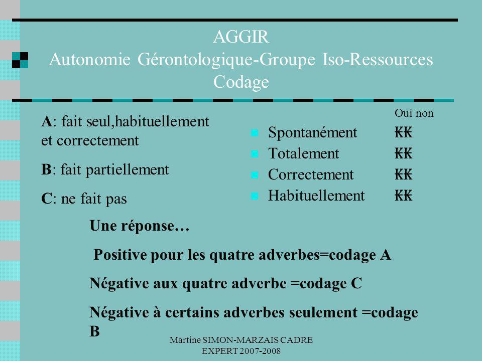 Martine SIMON-MARZAIS CADRE EXPERT 2007-2008 AGGIR Autonomie Gérontologique-Groupe Iso-Ressources Codage A: fait seul,habituellement et correctement B