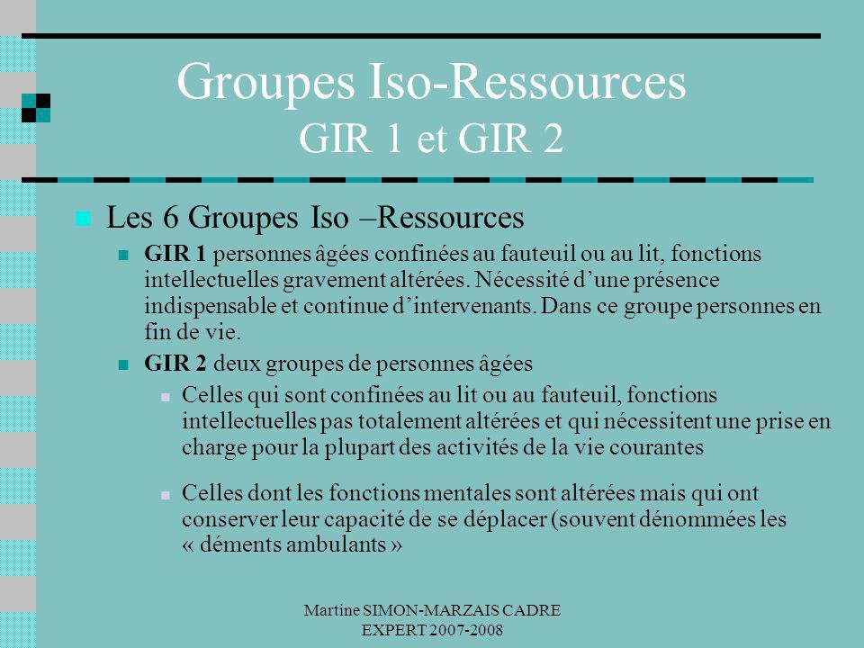 Martine SIMON-MARZAIS CADRE EXPERT 2007-2008 Groupes Iso-Ressources GIR 1 et GIR 2 Les 6 Groupes Iso –Ressources GIR 1 personnes âgées confinées au fa