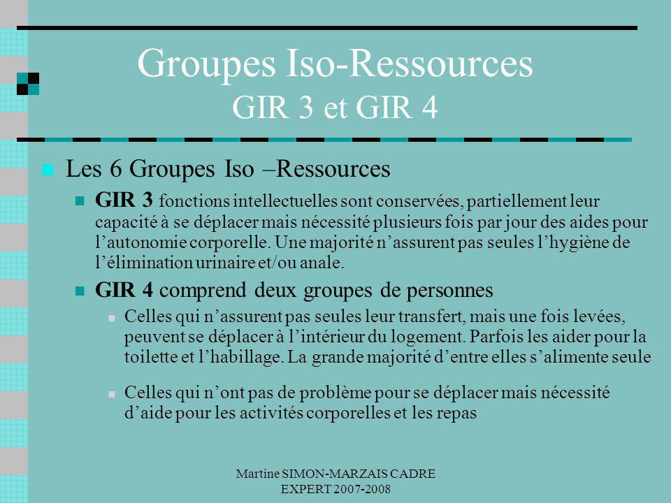 Martine SIMON-MARZAIS CADRE EXPERT 2007-2008 Groupes Iso-Ressources GIR 3 et GIR 4 Les 6 Groupes Iso –Ressources GIR 3 fonctions intellectuelles sont