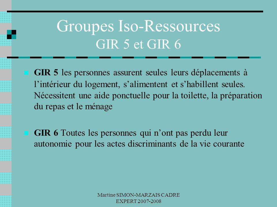 Martine SIMON-MARZAIS CADRE EXPERT 2007-2008 Groupes Iso-Ressources GIR 5 et GIR 6 GIR 5 les personnes assurent seules leurs déplacements à lintérieur
