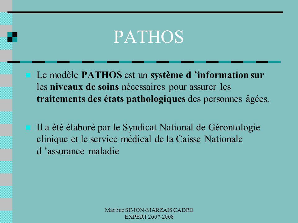 Martine SIMON-MARZAIS CADRE EXPERT 2007-2008 PATHOS Le modèle PATHOS est un système d information sur les niveaux de soins nécessaires pour assurer le