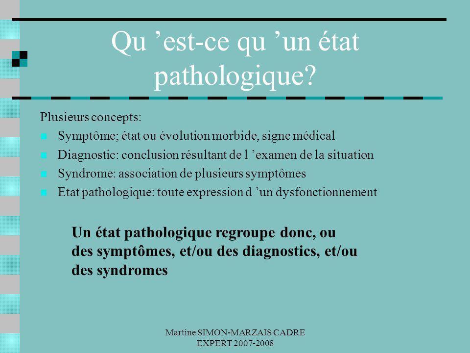 Martine SIMON-MARZAIS CADRE EXPERT 2007-2008 Qu est-ce qu un état pathologique? Plusieurs concepts: Symptôme; état ou évolution morbide, signe médical