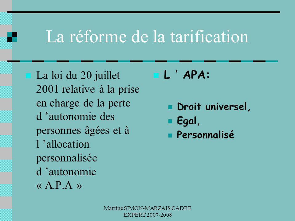 Martine SIMON-MARZAIS CADRE EXPERT 2007-2008 La réforme de la tarification La loi du 20 juillet 2001 relative à la prise en charge de la perte d auton