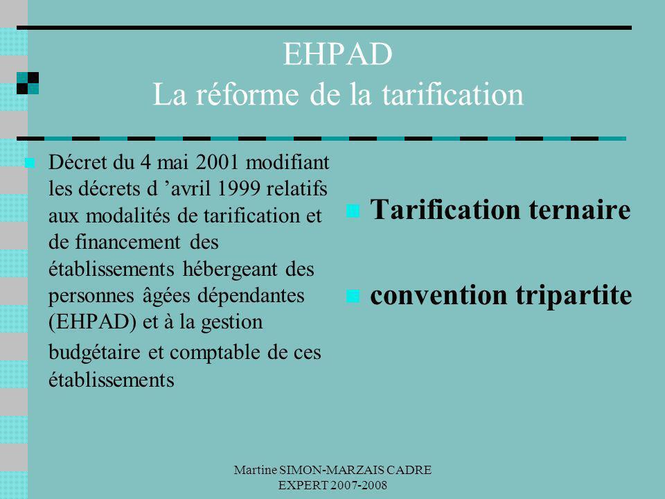 Martine SIMON-MARZAIS CADRE EXPERT 2007-2008 EHPAD La réforme de la tarification Décret du 4 mai 2001 modifiant les décrets d avril 1999 relatifs aux