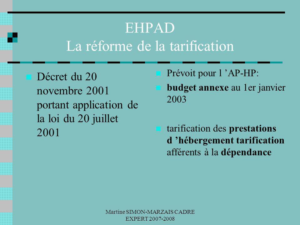 Martine SIMON-MARZAIS CADRE EXPERT 2007-2008 EHPAD La réforme de la tarification Décret du 20 novembre 2001 portant application de la loi du 20 juille