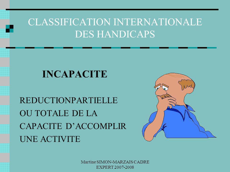 Martine SIMON-MARZAIS CADRE EXPERT 2007-2008 CLASSIFICATION INTERNATIONALE DES HANDICAPS INCAPACITE REDUCTIONPARTIELLE OU TOTALE DE LA CAPACITE DACCOM