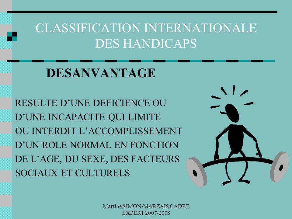 Martine SIMON-MARZAIS CADRE EXPERT 2007-2008 CLASSIFICATION INTERNATIONALE DES HANDICAPS DESANVANTAGE RESULTE DUNE DEFICIENCE OU DUNE INCAPACITE QUI L
