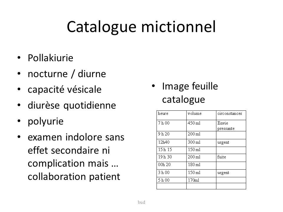 Catalogue mictionnel Pollakiurie nocturne / diurne capacité vésicale diurèse quotidienne polyurie examen indolore sans effet secondaire ni complicatio