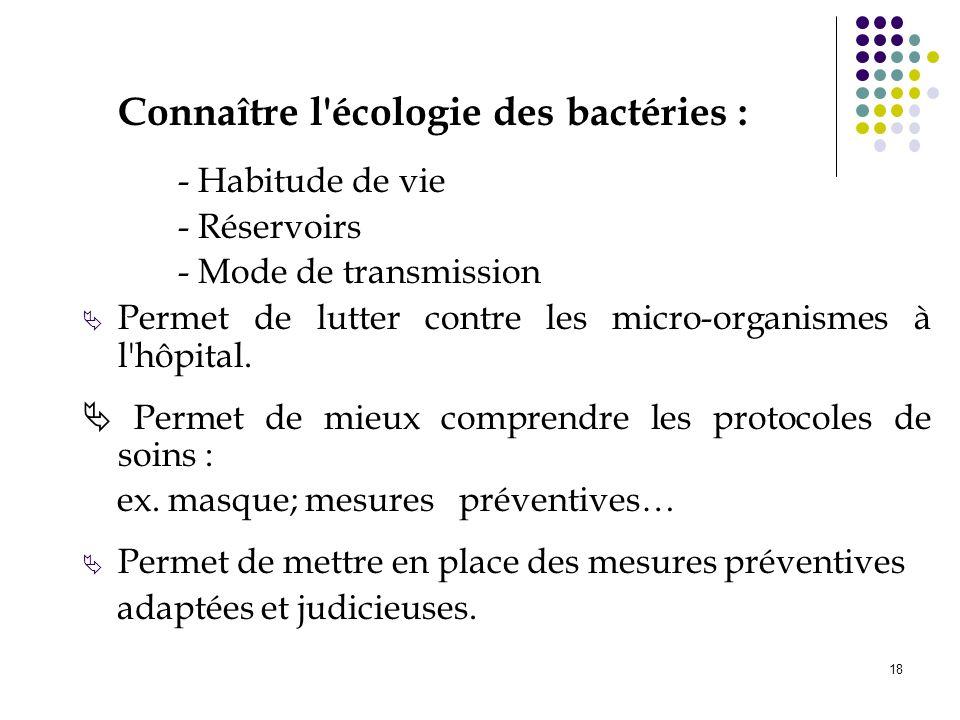 18 Connaître l'écologie des bactéries : - Habitude de vie - Réservoirs - Mode de transmission Permet de lutter contre les micro-organismes à l'hôpital