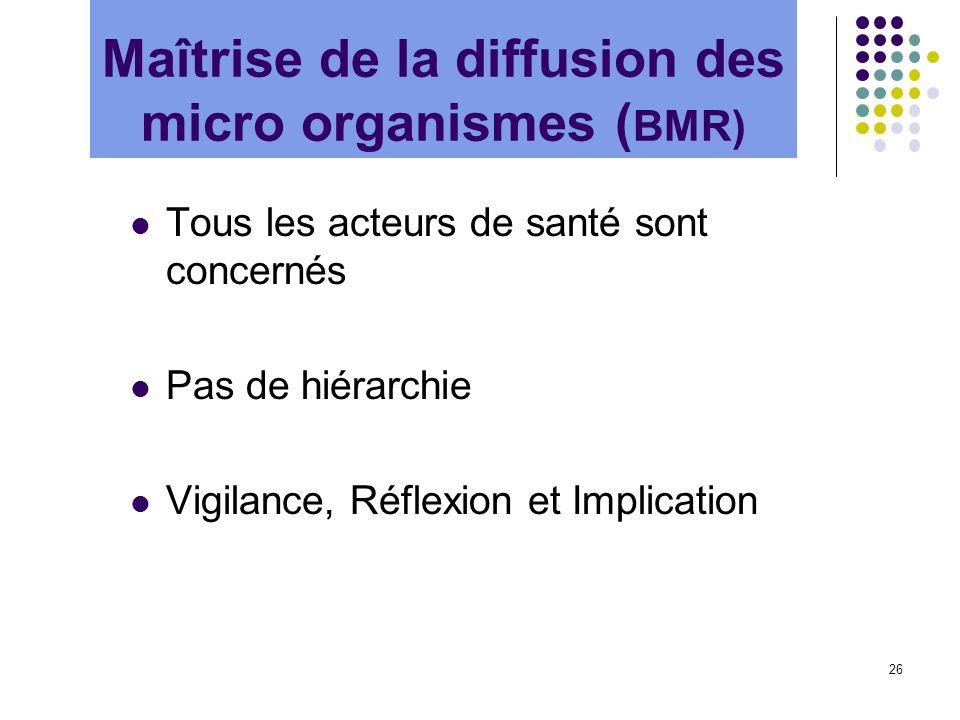 26 Tous les acteurs de santé sont concernés Pas de hiérarchie Vigilance, Réflexion et Implication Maîtrise de la diffusion des micro organismes ( BMR)