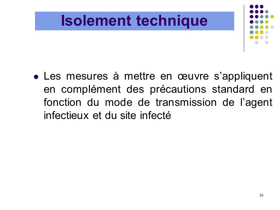 34 Les mesures à mettre en œuvre sappliquent en complément des précautions standard en fonction du mode de transmission de lagent infectieux et du sit