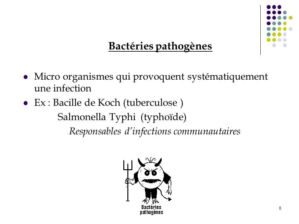 8 Bactéries pathogènes Micro organismes qui provoquent systématiquement une infection Ex : Bacille de Koch (tuberculose ) Salmonella Typhi (typhoïde)