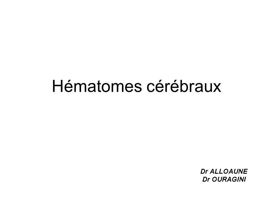 Hématome intra cérébral Volume : 80% des hématomes ont moins de 50 cc et 50% moins de 10 cc.
