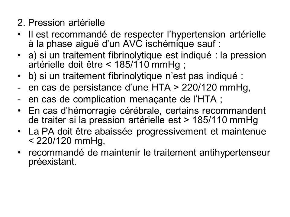 2. Pression artérielle Il est recommandé de respecter lhypertension artérielle à la phase aiguë dun AVC ischémique sauf : a) si un traitement fibrinol